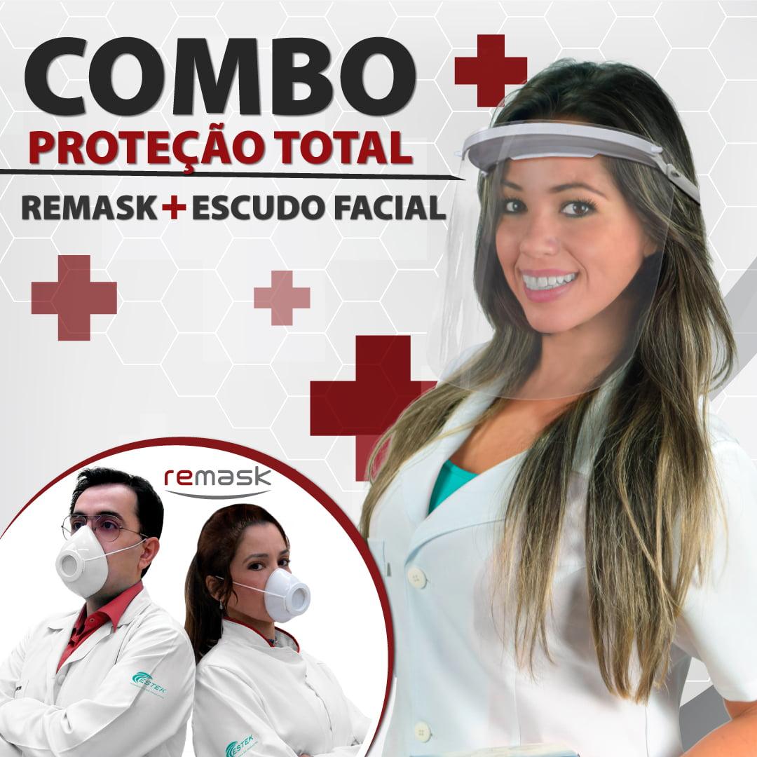 Combo Proteção Total! Remask + Escudo Facial - Estek - Mascaras Higiênicas e de Proteção - Estek | Site Oficial